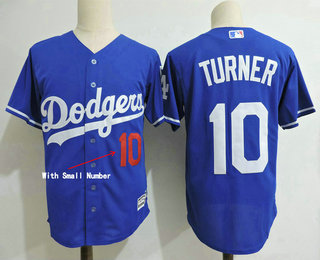 df5cca43c ... Mens Los Angeles Dodgers 10 Justin Turner With Small Number Sleeves  Team Logo Royal Blue ...
