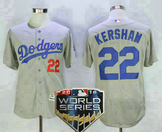 ebd390ca1 Men s Los Angeles Dodgers  22 Clayton Kershaw Gray 2018 World Series Patch  Stitched MLB Majestic