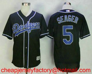 41e73cd5f64 Men s Brooklyn Dodgers  5 Corey Seager 2017 Black Fashion Stitched MLB Cool Base  Jersey