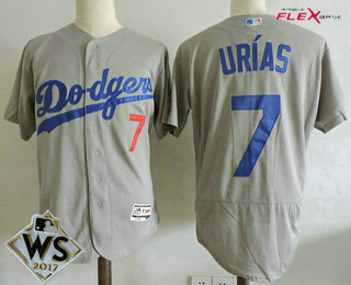 640fb6b3f Men s Los Angeles Dodgers  7 Julio Urias Gray Alternate 2017 World Series  Patch Stitched MLB