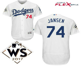 2b8c0696bec ... mlb flex base jersey fa58d ece80  reduced mens los angeles dodgers 74  kenley jansen white home 2017 world series patch majestic flex