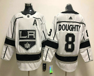 12f15396e Men's Los Angeles Kings #8 Drew Doughty White With A Patch 2017-2018 Hockey