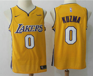 4961b244d79 Men s Los Angeles Lakers  0 Kyle Kuzma New Yellow 2017-2018 Nike Swingman  Wish Stitched NBA Jersey