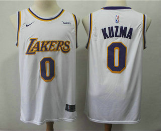 ec808247909 Men s Los Angeles Lakers  0 Kyle Kuzma White 2018-2019 Nike Wish Swingman  Stitched NBA Jersey