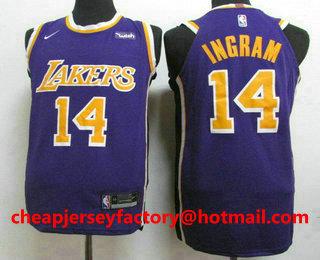 competitive price a582a 5689c Men's Los Angeles Lakers #14 Brandon Ingram New Purple 2019 ...