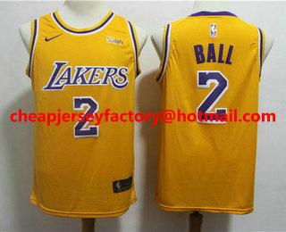 sale retailer 61c88 e9f70 Men's Los Angeles Lakers #2 Lonzo Ball White 2018-2019 Nike ...