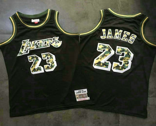 1824093ad85 Men s Los Angeles Lakers  23 LeBron James Black With Camo Hardwood Classics  Soul Swingman Throwback