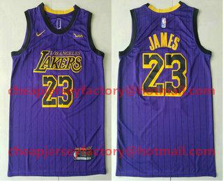 fcb1f8b84 ... Swingman Stitched NBA Jersey   21. Men s Los Angeles Lakers  23 LeBron  James NEW Purple 2019 Nike City Edition Authentic Wish