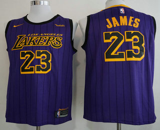2113239db5136 Men s Los Angeles Lakers  23 LeBron James NEW Purple 2019 Nike City Edition  Swingman Wish Stitched NBA Jersey