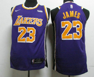 new style a8e34 26259 Men's Los Angeles Lakers #23 LeBron James Purple With Black ...
