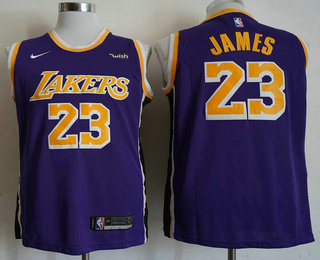 new arrival 7c25c 30bcf Men's Los Angeles Lakers #23 LeBron James Yellow 2018-2019 ...