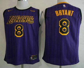 e5afad6e7ed Men s Los Angeles Lakers  8 Kobe Bryant NEW Purple 2019 Nike City Edition  Swingman Wish