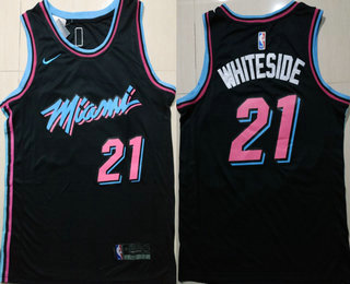 d8f1920840a Men s Miami Heat  21 Hassan Whiteside Black 2017-2018 Ultimate Software  Stitched City Edition Jersey