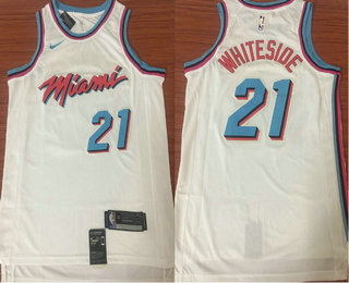 size 40 e03e3 bea90 Men's Miami Heat #21 Hassan Whiteside White Nike NBA ...