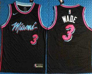 5ec175079a7 Men s Miami Heat  3 Dwyane Wade Black 2017-2018 Stitched City Edition Jersey