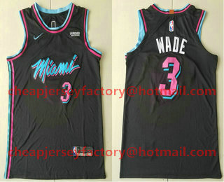 a3aa1c1bf77 Men s Miami Heat  3 Dwyane Wade Black 2017-2018 Ultimate Software Stitched  City Edition