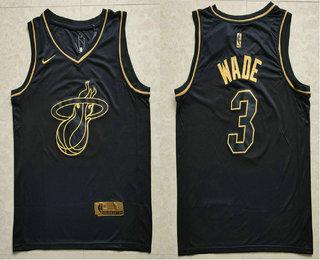dd93eb31692 Men s Miami Heat  3 Dwyane Wade Black Golden Edition Nike Swingman Jersey