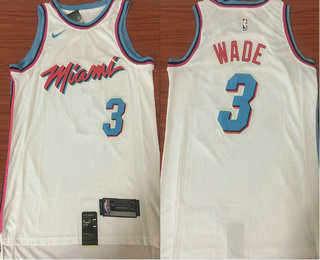 huge selection of eb9ba 20409 Men's Miami Heat #3 Dwyane Wade White Nike NBA Swingman City ...
