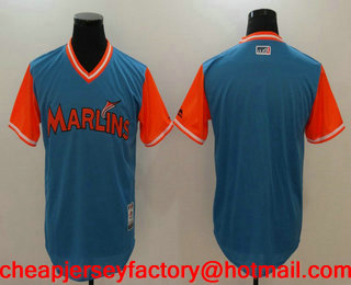 67c4403b0 Men s Miami Marlins Blank Blue 2017 Little League World Series Players  Weekend Stitched Nickname Jersey