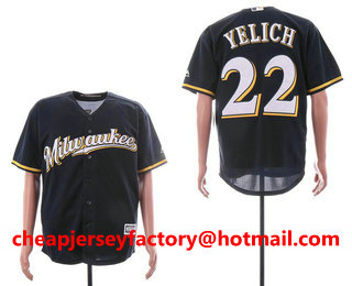 b1d3b2f42 Men s Milwaukee Brewers  22 Christian Yelich Navy Blue Milwaukee Stitched  MLB Cool Base Jersey