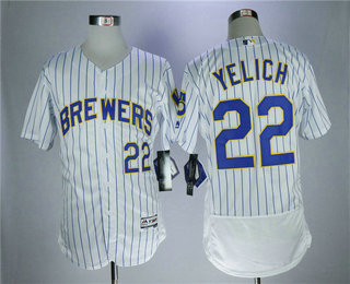 Men s Milwaukee Brewers  22 Christian Yelich White Pinstripe Home Stitched MLB  Majestic Flex Base Jersey e65af5df7