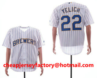 67aeb228a Men s Milwaukee Brewers  22 Christian Yelich White Pinstripe Stitched MLB  Cool Base Jersey