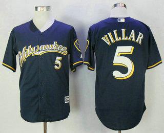 b682de163 Men s Milwaukee Brewers  5 Jonathan Villar Navy Blue with Milwaukee  Stitched MLB Cool Base Jersey