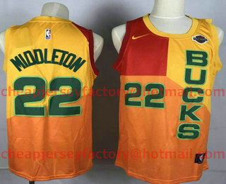 82751a9a Men's Milwaukee Bucks #22 Khris Middleton New Yellow With Red Gold 2019  City Edition NBA