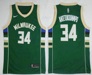 8d76b1921 Men s Milwaukee Bucks  34 Giannis Antetokounmpo Green 2017-2018 Nike  Swingman Stitched NBA Jersey