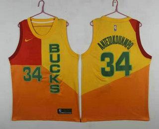 size 40 9e61c 1cea1 Men's Milwaukee Bucks #34 Giannis Antetokounmpo New Yellow ...