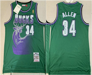 release date 3afbd 9acfc Men's Milwaukee Bucks #34 Ray Allen 1996-97 ABA Hardwood ...