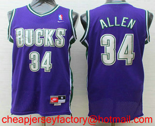 4b72be36d ... Mens Milwaukee Bucks 34 Ray Allen Purple Hardwood Classics Soul Swingman  Throwback Jersey ...