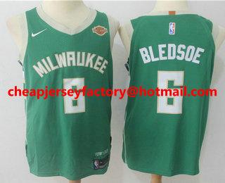 9a62e677 Men's Milwaukee Bucks #6 Eric Bledsoe Green 2017-2018 Nike Authentic Harley  Davidson Stitched NBA Jersey