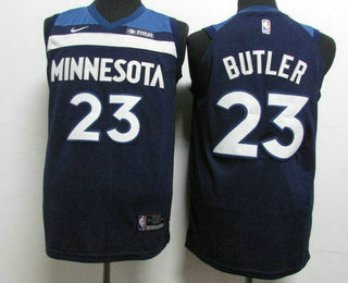 d4d66671b Men s Minnesota Timberwolves  23 Jimmy Butler New Navy Blue 2017-2018 Nike  Authentic Fitbit Stitched NBA Jersey