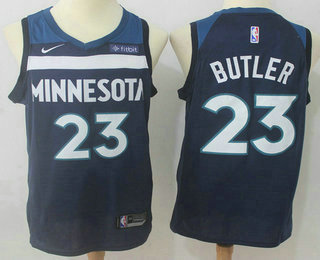 Men s Minnesota Timberwolves  23 Jimmy Butler New Navy Blue 2017-2018 Nike  Swingman Fitbit 3e1b398a9