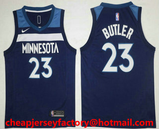 aaaf4007a75 Men s Minnesota Timberwolves  23 Jimmy Butler New Navy Blue 2017-2018 Nike  Icon Edition