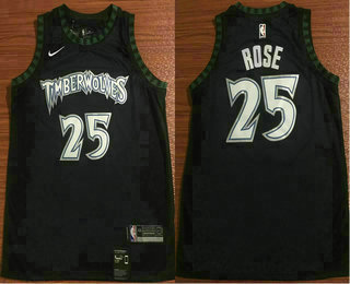 best website add2b c2bce Men's Minnesota Timberwolves #25 Derrick Rose Black Nike ...