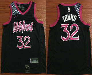 7d0a1fb1eaa Men s Minnesota Timberwolves  32 Karl Anthony Towns New Black 2019 City Edition  NBA Swingman Jersey