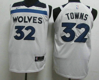 0e58ad55f58 Men s Minnesota Timberwolves  32 Karl-Anthony Towns New White 2017-2018 Nike  Authentic Fitbit Stitched NBA Jersey