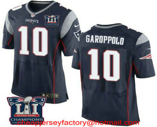 ac75ae930 Nike Elite Jersey 24.5. Mens New England Patriots 10 Jimmy Garoppolo Navy  ...