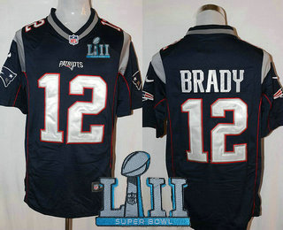d2219bbf5 Men s New England Patriots  12 Tom Brady NEW Navy Blue Team Color 2018 Super  Bowl LII Patch Stitched NFL Nike Game Jersey