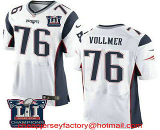 f587d71de19 Men s New England Patriots  76 Sebastian Vollmer White 2017 Super Bowl LI  Champions Patch Stitched NFL Nike Elite Jersey