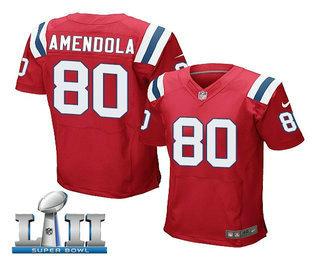 9677ae51b Men s New England Patriots  80 Danny Amendola Red Alternate 2018 Super Bowl  LII Patch Stitched