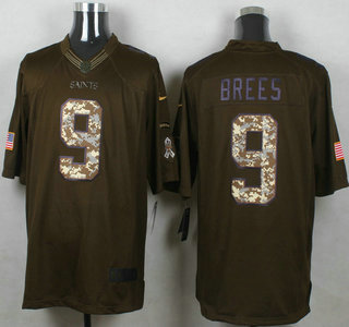 Mens New Orleans Saints 9 Drew Brees Green Salute to Service 2015 NFL Nike  Limited ... 3aefd7054