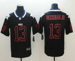 96e2b15202c Men's New York Giants #13 Odell Beckham Jr 2018 Black Lights Out Color Rush  Stitched NFL Nike Limited Jersey