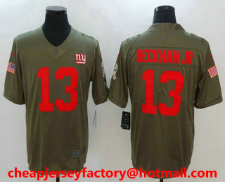 low priced 618b2 e4d26 Men s New York Giants  13 Odell Beckham Jr Olive 2017 Salute To Service Stitched  NFL Nike Limited Jersey