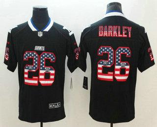 03ebcb2fe Men s New York Giants  26 Saquon Barkley 2018 USA Flag Fashion Black Color  Rush Stitched