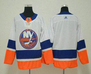 5e2d79db8eb Men s New York Islanders Blank White 2017-2018 Hockey Stitched NHL Jersey