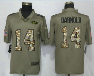 ... NFL Nike Limited Jersey   21.5. Men s New York Jets  14 Sam Darnold  Olive With Camo 2018 Salute To Service Stitched f8193b421