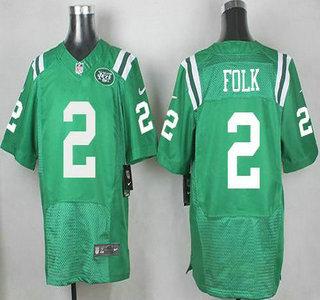 Mens New York Jets 2 Nick Folk Nike Kelly Green Color Rush 2015 NFL Elite  ... 498dfaed5